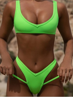 Vintage Neon High Cut Ribbed Swimsuit